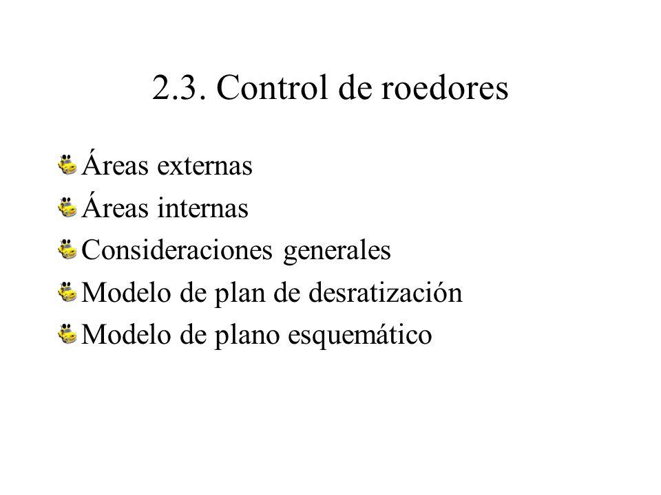 2.3. Control de roedores Áreas externas Áreas internas