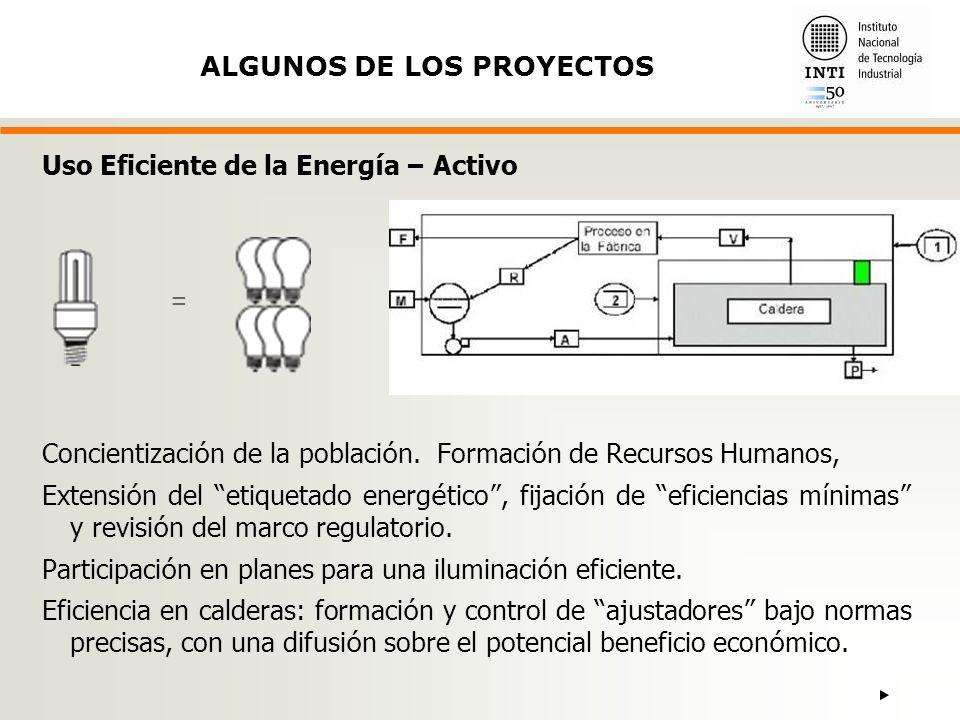= ALGUNOS DE LOS PROYECTOS Uso Eficiente de la Energía – Activo