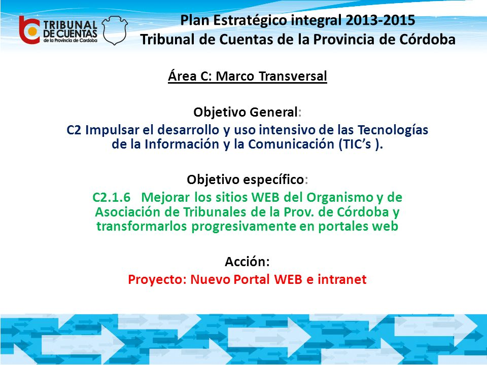 Área C: Marco Transversal Proyecto: Nuevo Portal WEB e intranet