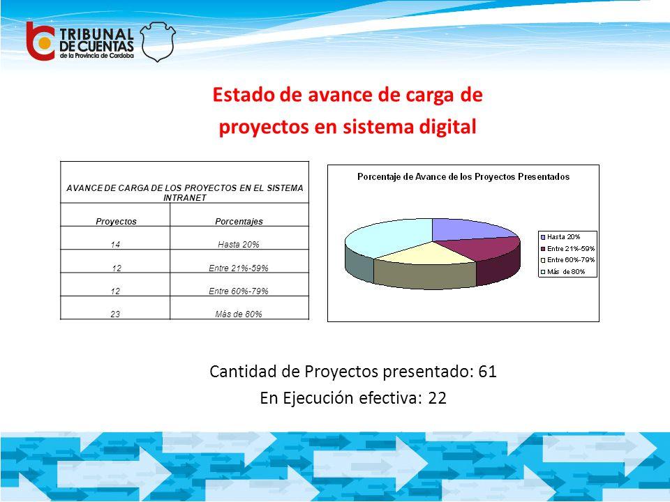 Estado de avance de carga de proyectos en sistema digital