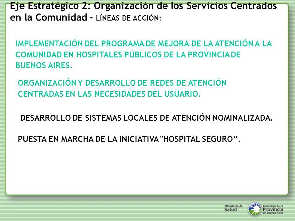 Eje Estratégico 2: Organización de los Servicios Centrados en la Comunidad - LÍNEAS DE ACCIÓN: