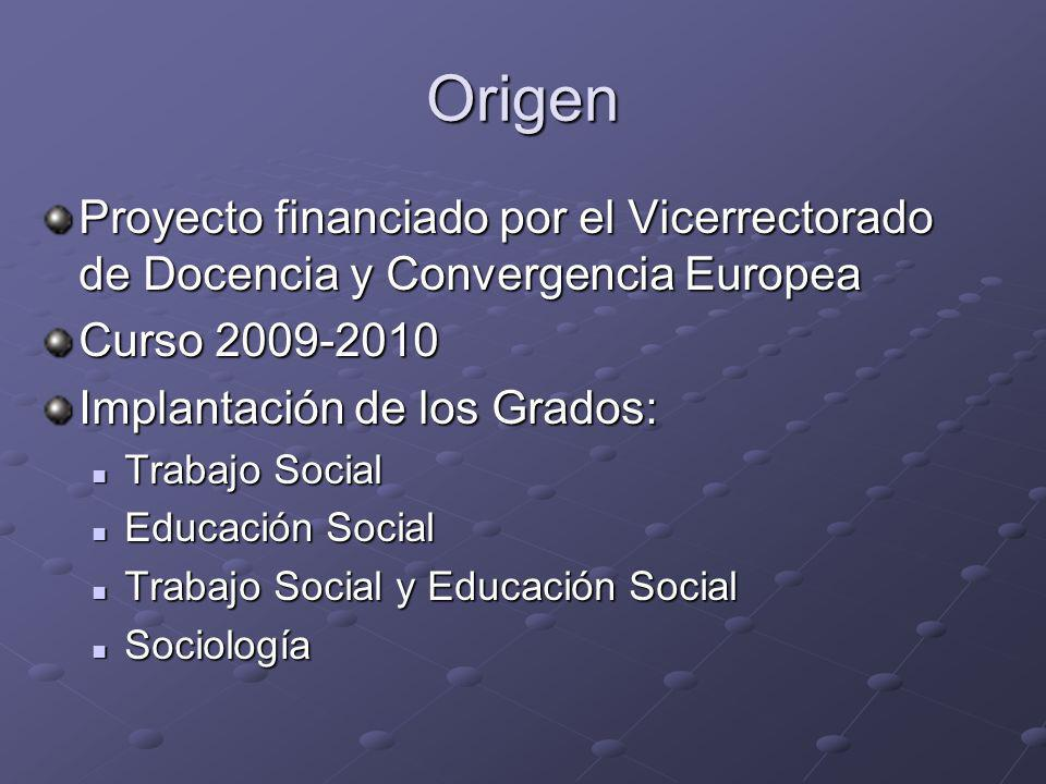 Origen Proyecto financiado por el Vicerrectorado de Docencia y Convergencia Europea. Curso 2009-2010.
