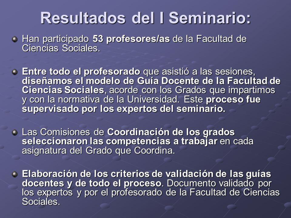 Resultados del I Seminario: