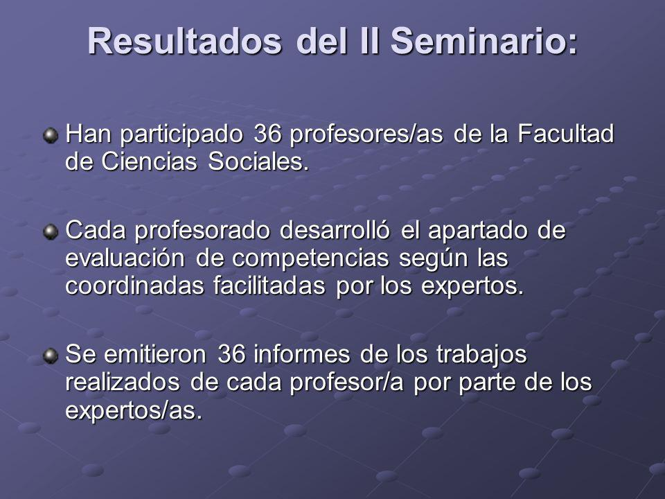 Resultados del II Seminario:
