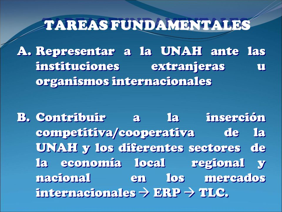 TAREAS FUNDAMENTALES Representar a la UNAH ante las instituciones extranjeras u organismos internacionales.