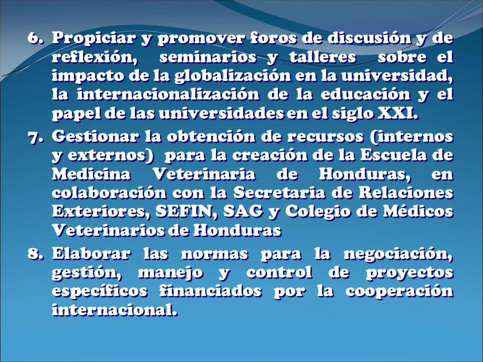Propiciar y promover foros de discusión y de reflexión, seminarios y talleres sobre el impacto de la globalización en la universidad, la internacionalización de la educación y el papel de las universidades en el siglo XXI.