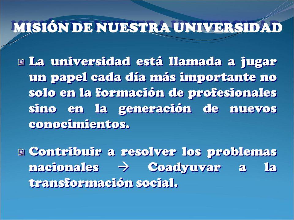 MISIÓN DE NUESTRA UNIVERSIDAD