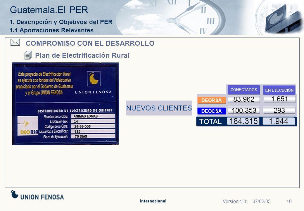 COMPROMISO CON EL DESARROLLO Plan de Electrificación Rural