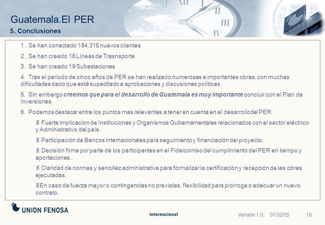 Guatemala.El PER 5. Conclusiones