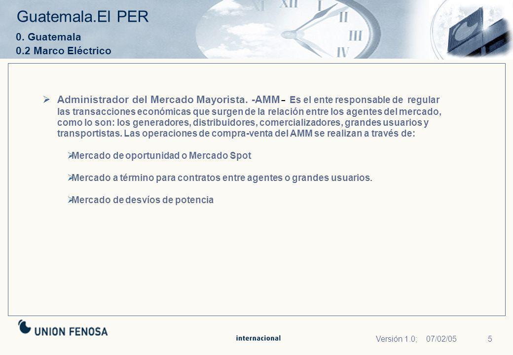 Guatemala.El PER 0. Guatemala 0.2 Marco Eléctrico