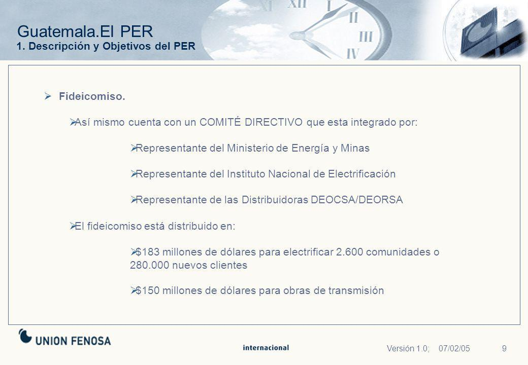Guatemala.El PER 1. Descripción y Objetivos del PER Fideicomiso.