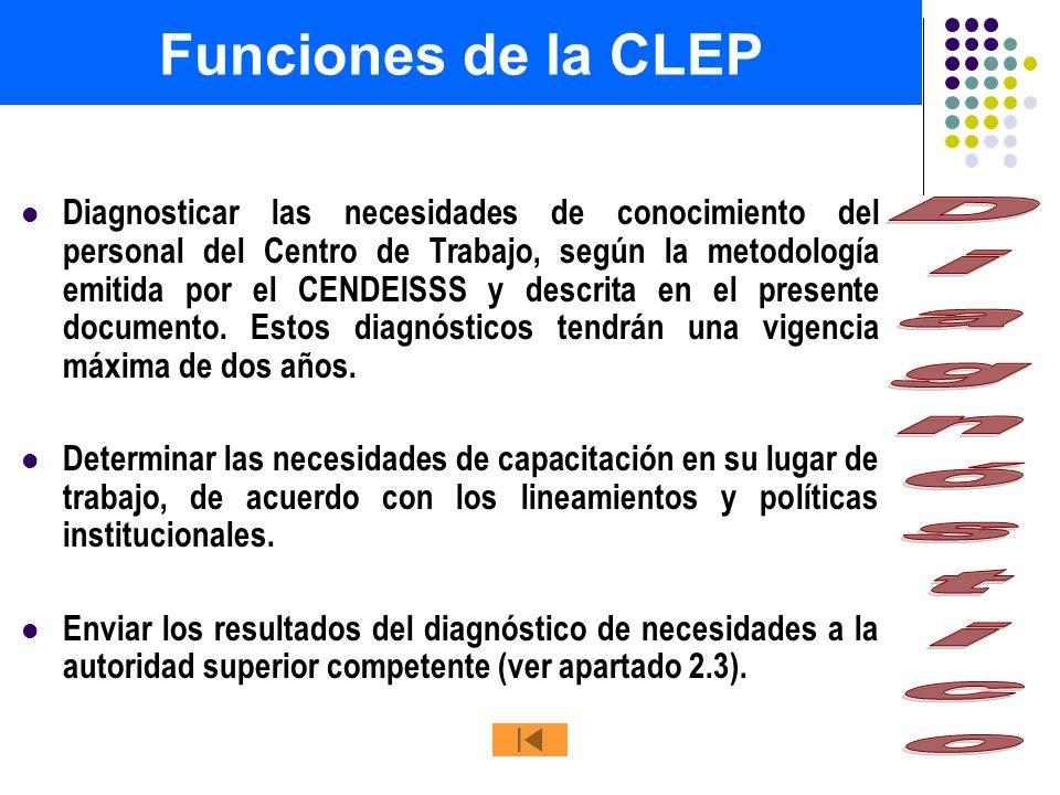 Funciones de la CLEP Diagnóstico