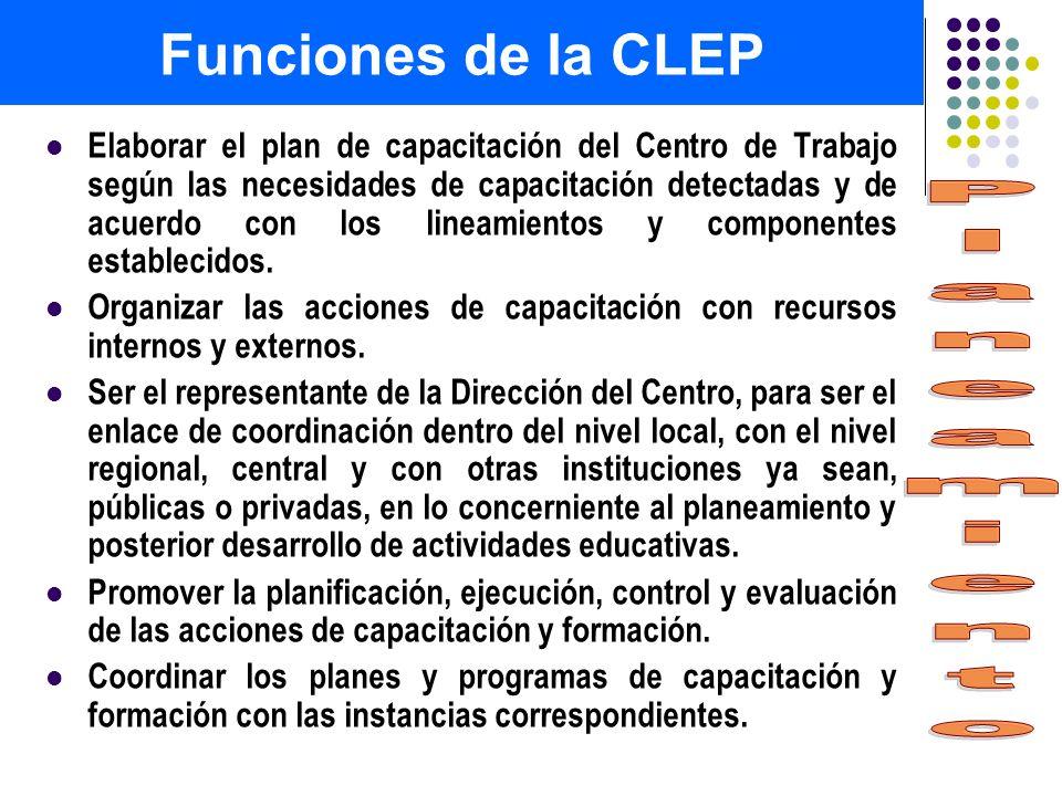 Funciones de la CLEP Planeamiento