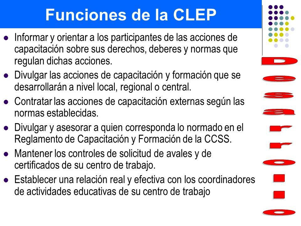 Funciones de la CLEP Desarrollo