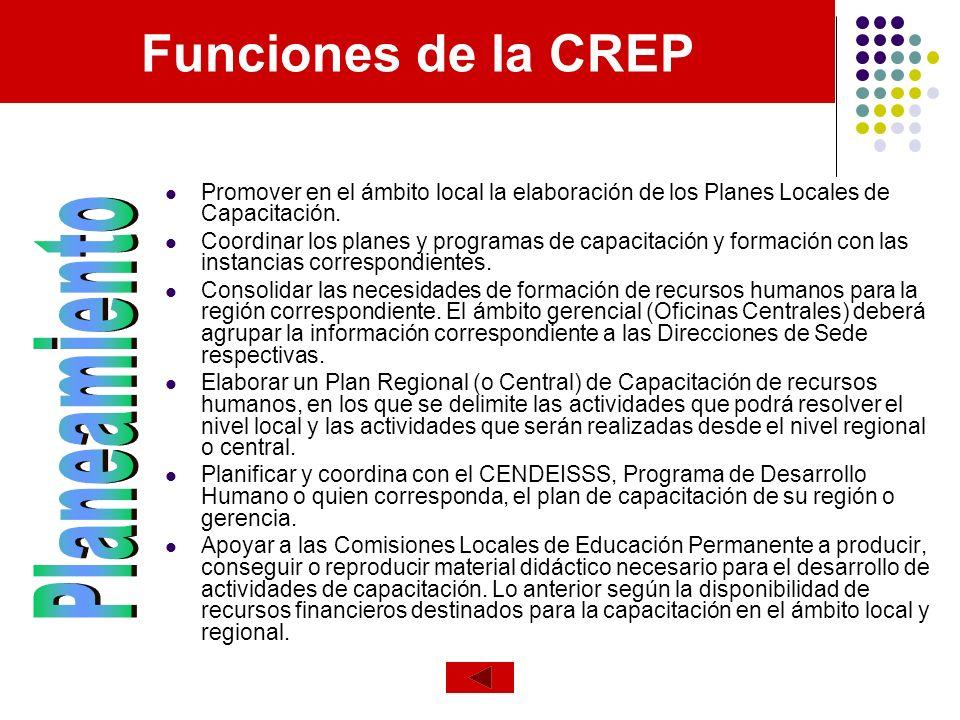 Funciones de la CREP Planeamiento