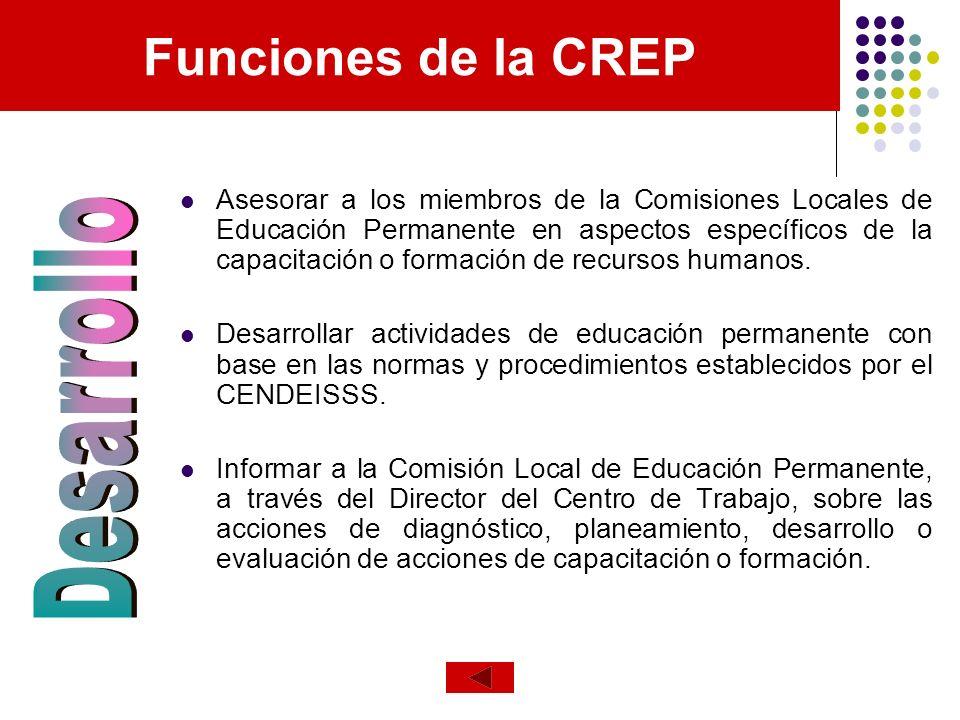 Funciones de la CREP Desarrollo