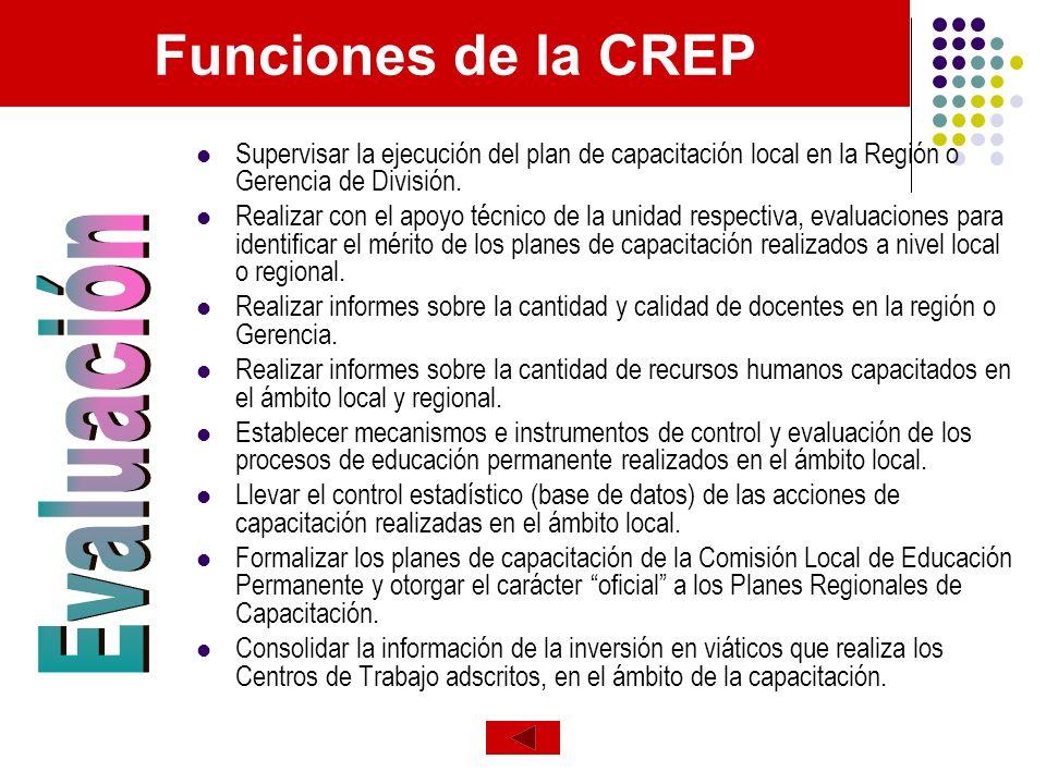 Funciones de la CREP Evaluación