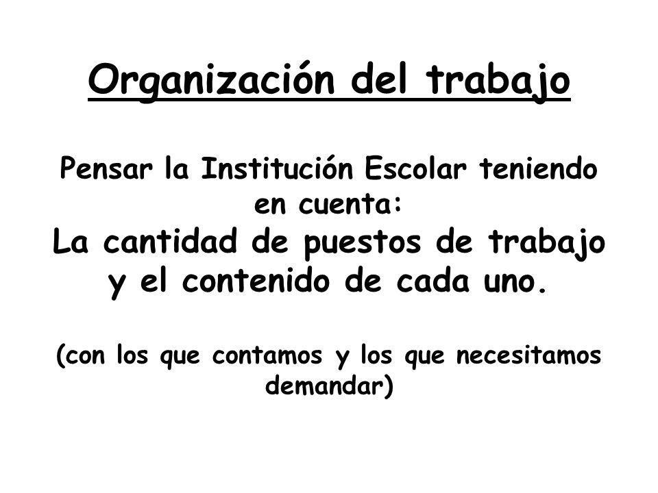Organización del trabajo Pensar la Institución Escolar teniendo en cuenta: La cantidad de puestos de trabajo y el contenido de cada uno.