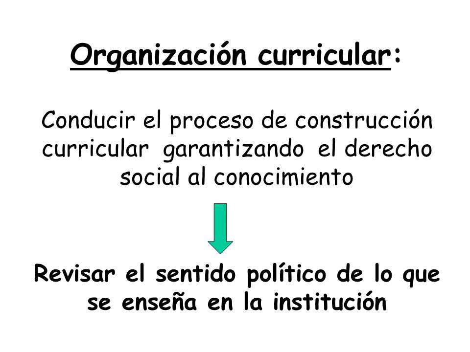 Organización curricular: Conducir el proceso de construcción curricular garantizando el derecho social al conocimiento Revisar el sentido político de lo que se enseña en la institución