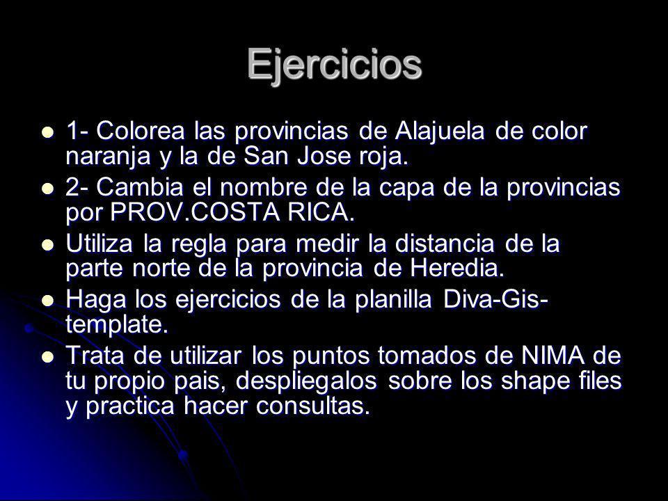 Ejercicios 1- Colorea las provincias de Alajuela de color naranja y la de San Jose roja.