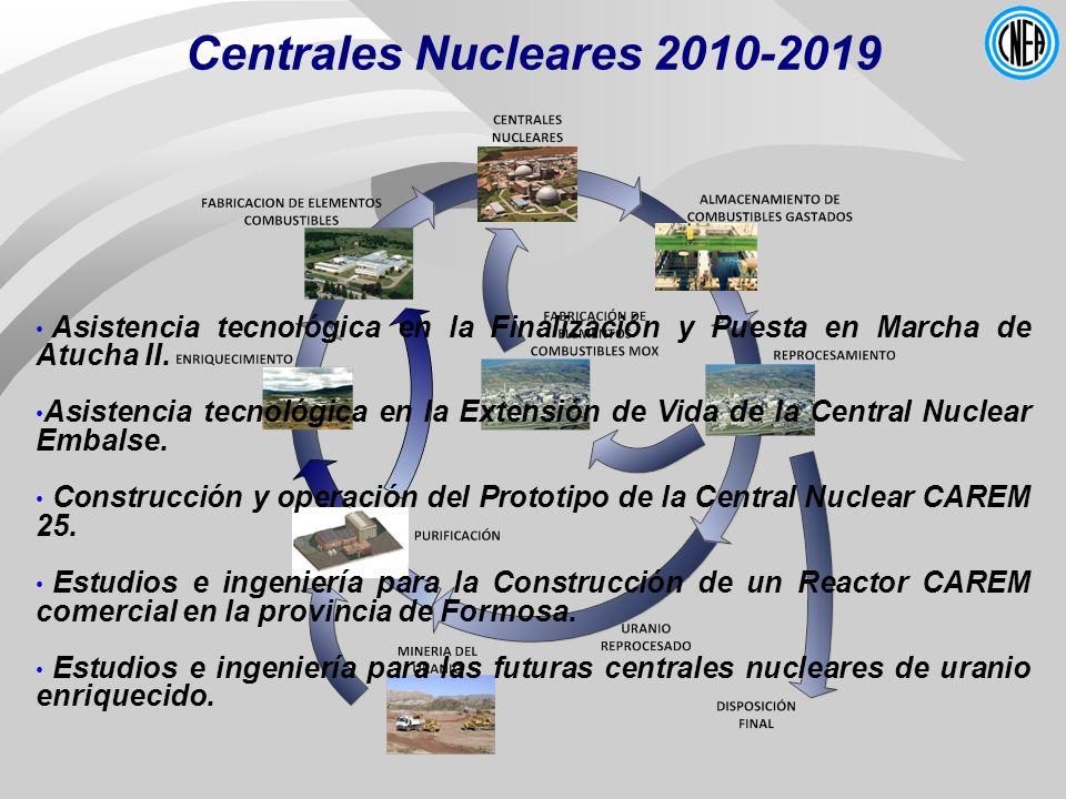 Centrales Nucleares 2010-2019Asistencia tecnológica en la Finalización y Puesta en Marcha de Atucha II.