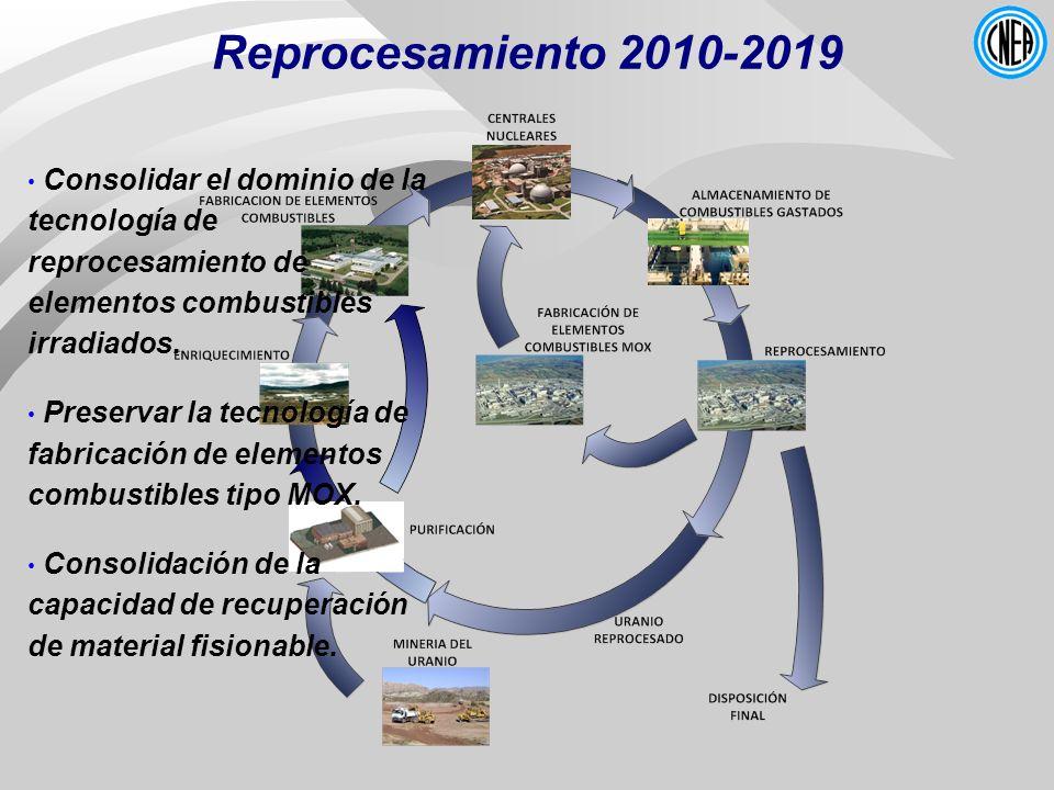 Reprocesamiento 2010-2019 Consolidar el dominio de la tecnología de reprocesamiento de elementos combustibles irradiados.