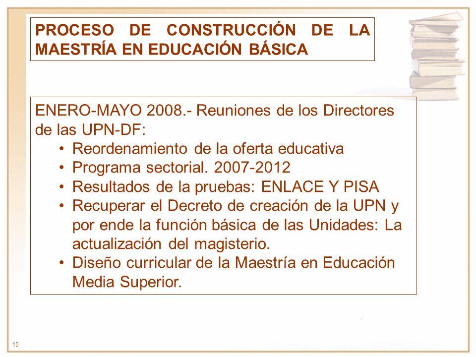 PROCESO DE CONSTRUCCIÓN DE LA MAESTRÍA EN EDUCACIÓN BÁSICA
