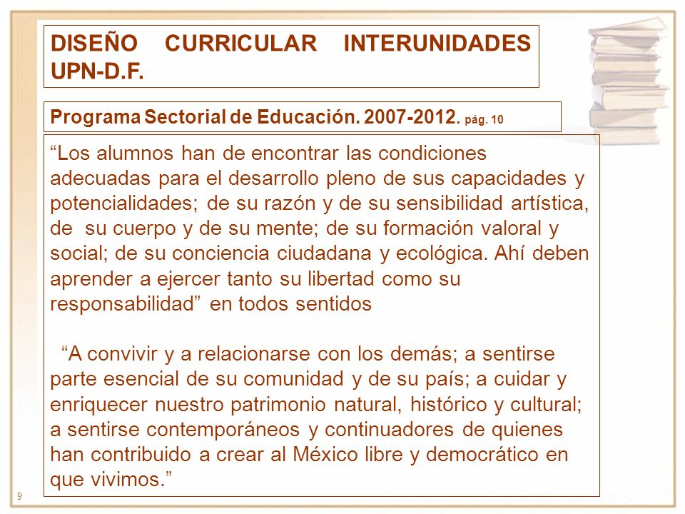 DISEÑO CURRICULAR INTERUNIDADES UPN-D.F.
