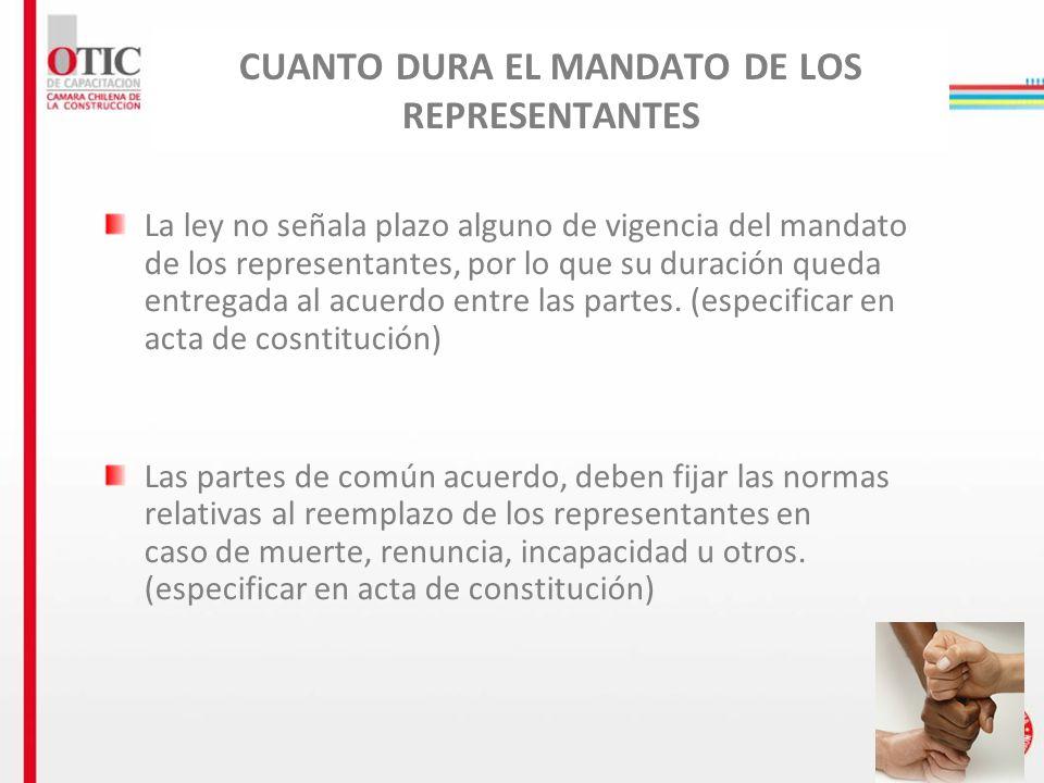 CUANTO DURA EL MANDATO DE LOS REPRESENTANTES