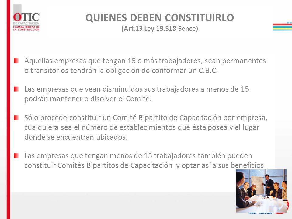 QUIENES DEBEN CONSTITUIRLO (Art.13 Ley 19.518 Sence)