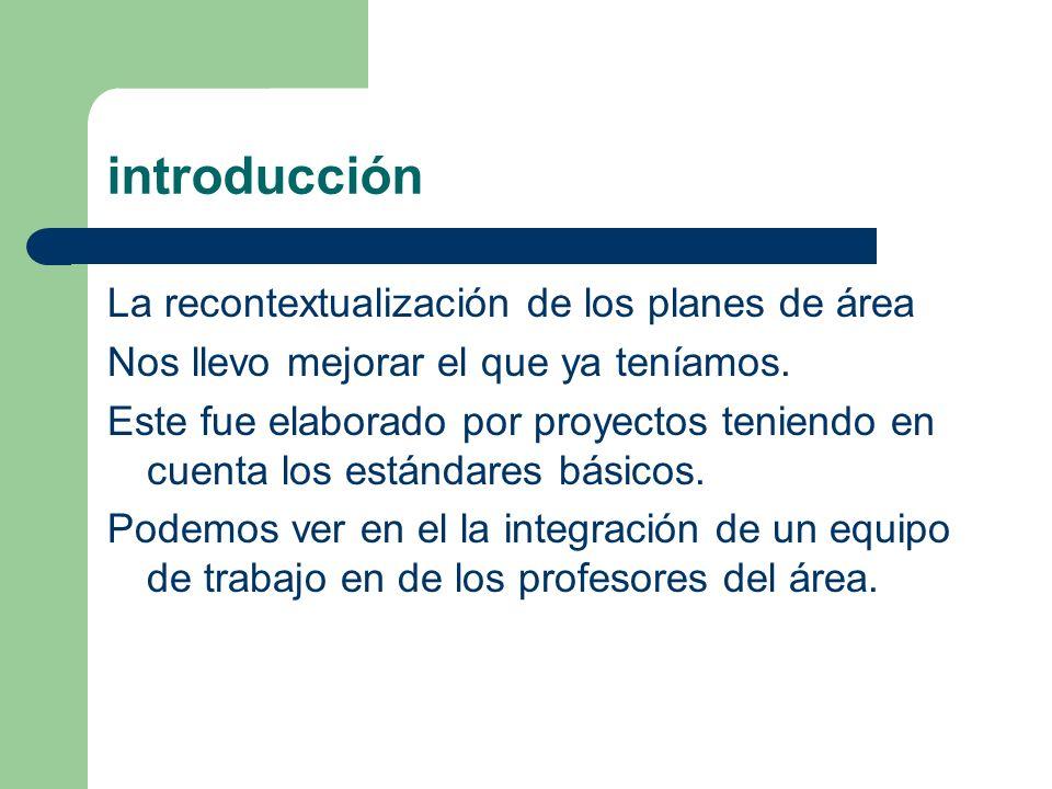 introducción La recontextualización de los planes de área