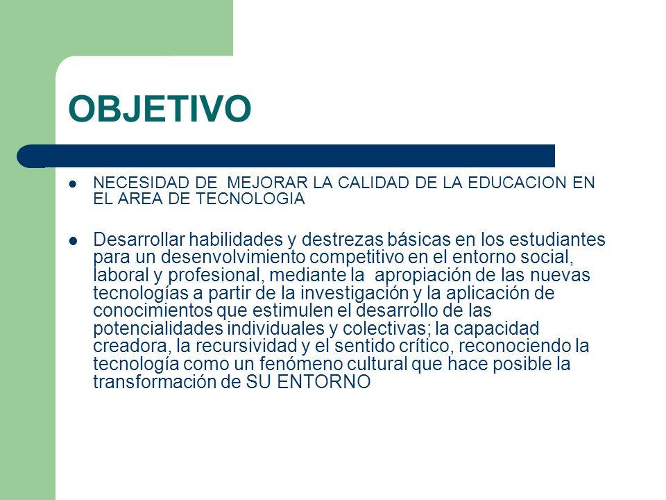 OBJETIVO NECESIDAD DE MEJORAR LA CALIDAD DE LA EDUCACION EN EL AREA DE TECNOLOGIA.