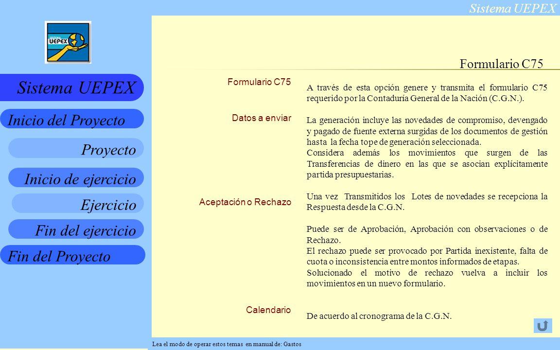 Formulario C75 Formulario C75