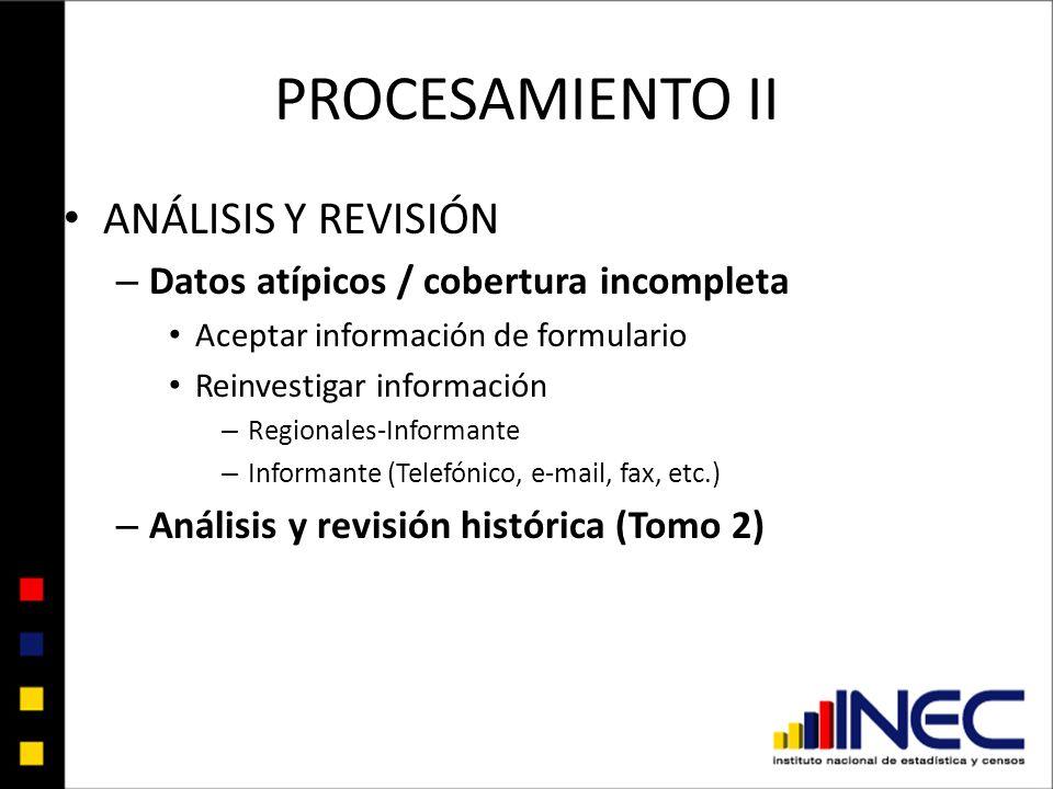 PROCESAMIENTO II ANÁLISIS Y REVISIÓN