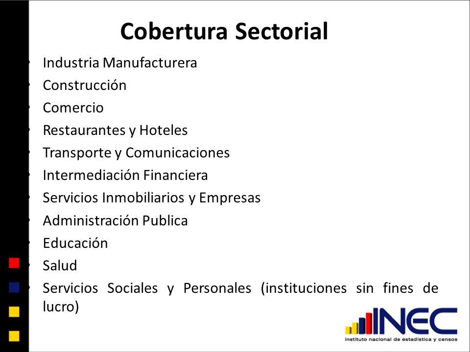 Cobertura Sectorial Industria Manufacturera Construcción Comercio