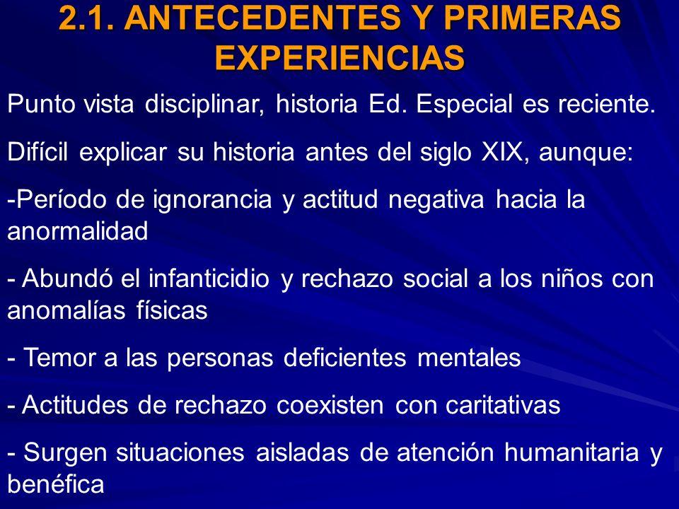 2.1. ANTECEDENTES Y PRIMERAS EXPERIENCIAS