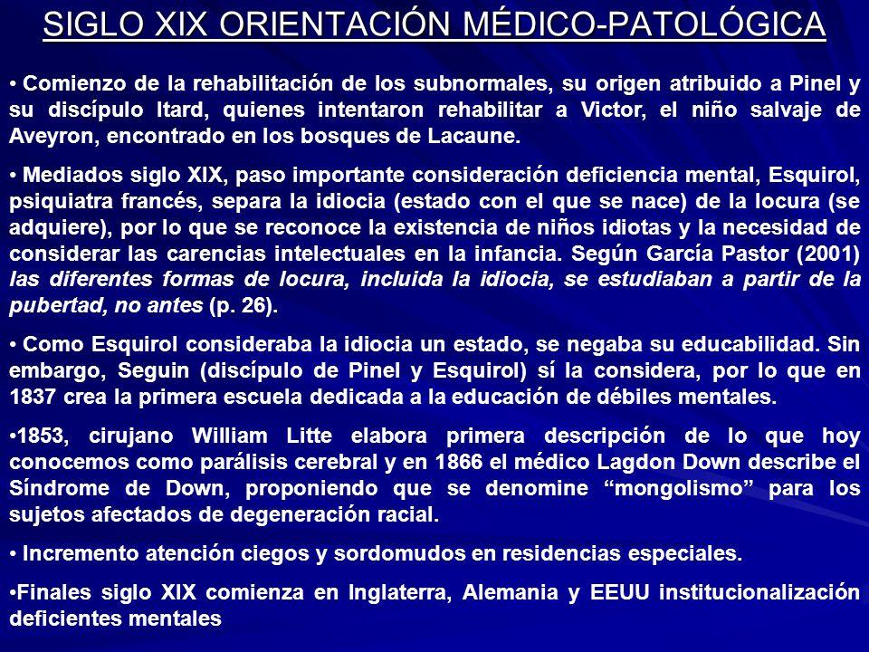SIGLO XIX ORIENTACIÓN MÉDICO-PATOLÓGICA