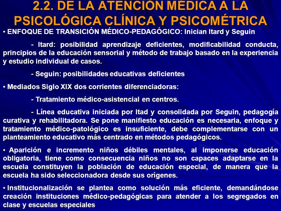 2.2. DE LA ATENCIÓN MÉDICA A LA PSICOLÓGICA CLÍNICA Y PSICOMÉTRICA
