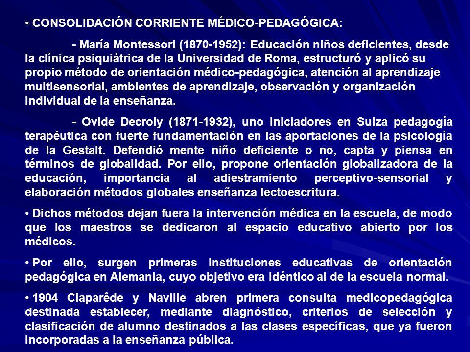 CONSOLIDACIÓN CORRIENTE MÉDICO-PEDAGÓGICA:
