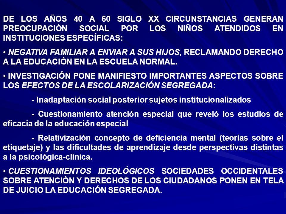 DE LOS AÑOS 40 A 60 SIGLO XX CIRCUNSTANCIAS GENERAN PREOCUPACIÓN SOCIAL POR LOS NIÑOS ATENDIDOS EN INSTITUCIONES ESPECÍFICAS: