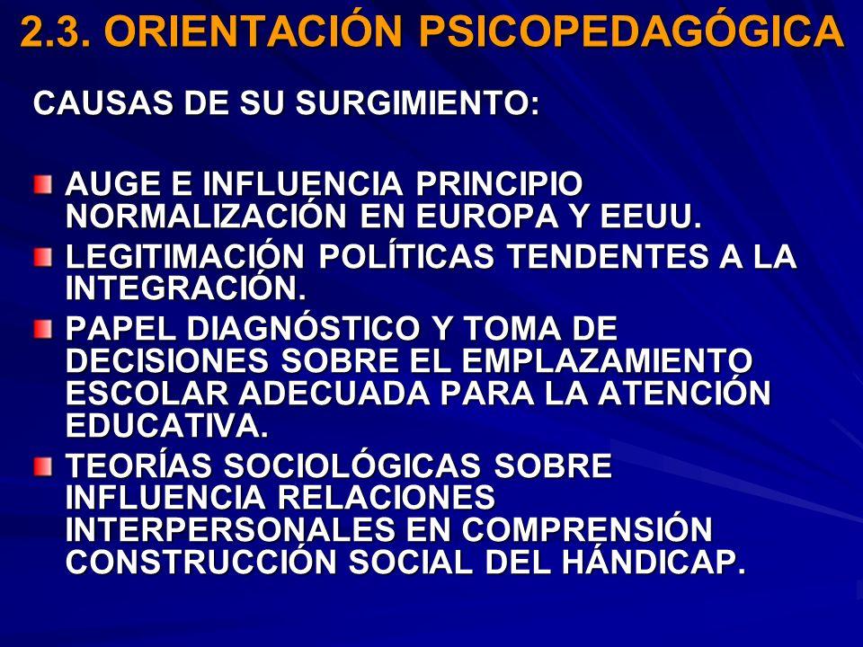2.3. ORIENTACIÓN PSICOPEDAGÓGICA