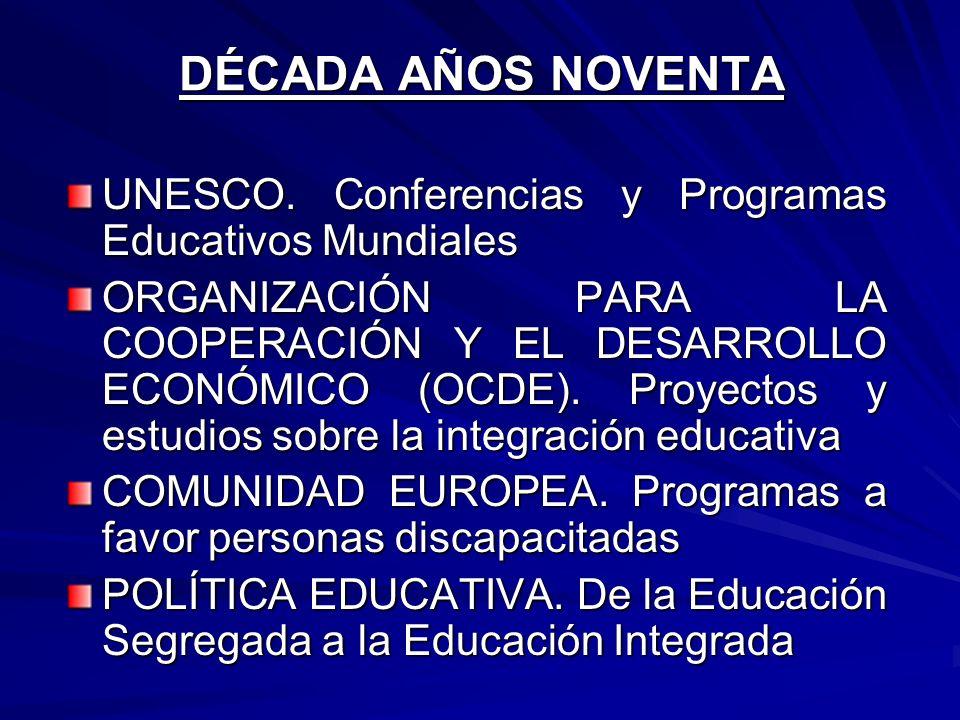 DÉCADA AÑOS NOVENTA UNESCO. Conferencias y Programas Educativos Mundiales.