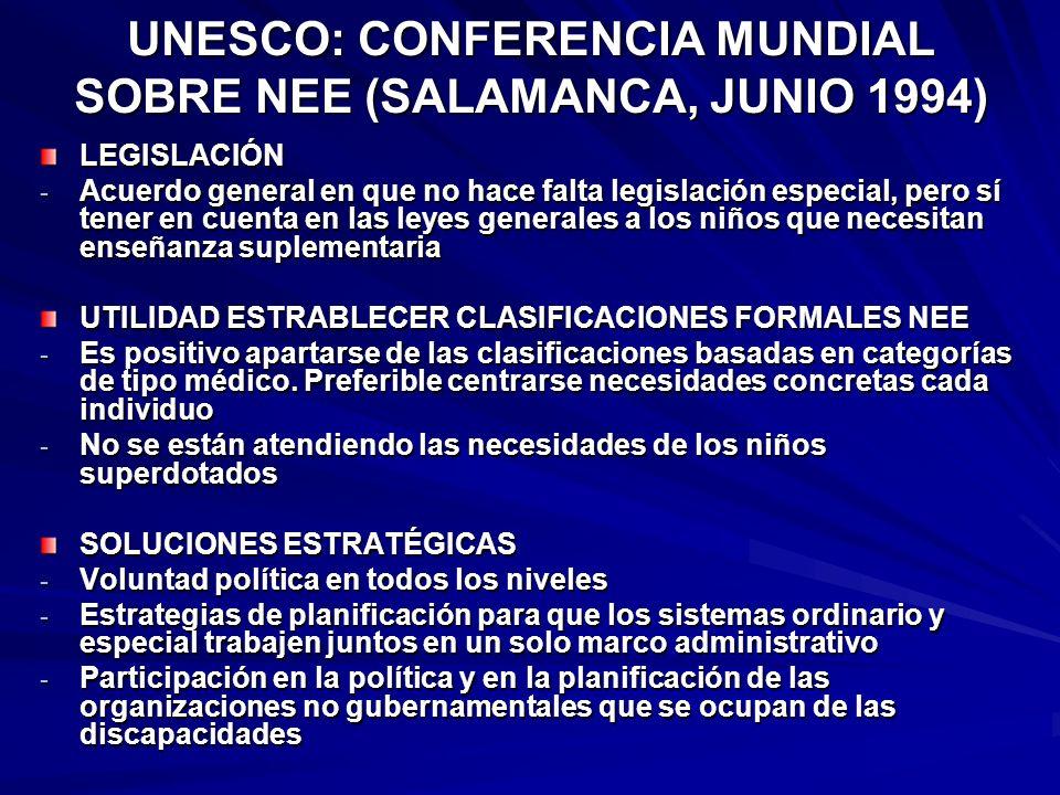 UNESCO: CONFERENCIA MUNDIAL SOBRE NEE (SALAMANCA, JUNIO 1994)