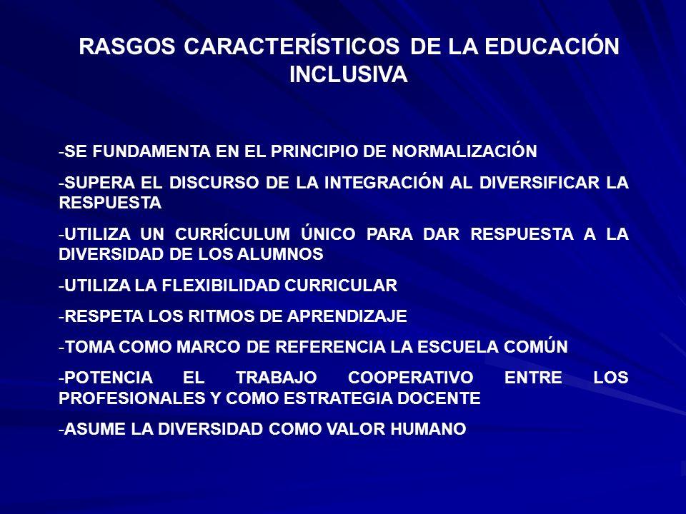 RASGOS CARACTERÍSTICOS DE LA EDUCACIÓN INCLUSIVA