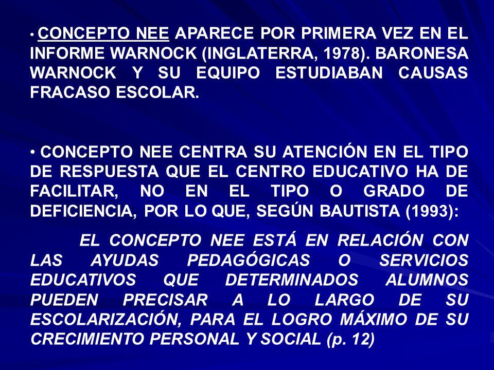 CONCEPTO NEE APARECE POR PRIMERA VEZ EN EL INFORME WARNOCK (INGLATERRA, 1978). BARONESA WARNOCK Y SU EQUIPO ESTUDIABAN CAUSAS FRACASO ESCOLAR.