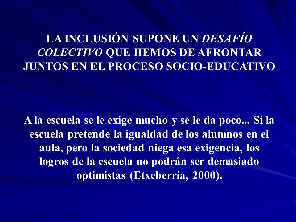 LA INCLUSIÓN SUPONE UN DESAFÍO COLECTIVO QUE HEMOS DE AFRONTAR JUNTOS EN EL PROCESO SOCIO-EDUCATIVO