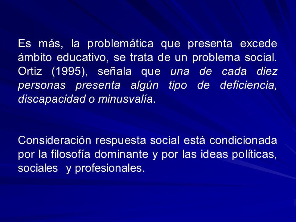 Es más, la problemática que presenta excede ámbito educativo, se trata de un problema social. Ortiz (1995), señala que una de cada diez personas presenta algún tipo de deficiencia, discapacidad o minusvalía.