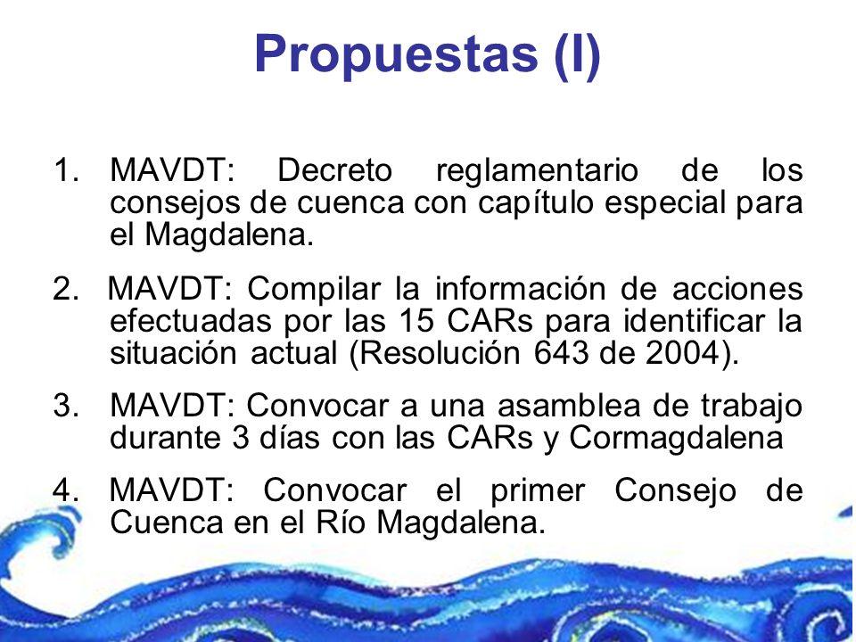 Propuestas (I) MAVDT: Decreto reglamentario de los consejos de cuenca con capítulo especial para el Magdalena.