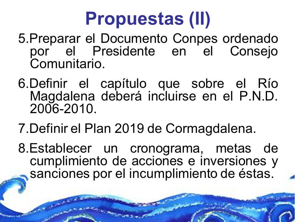 Propuestas (II) 5.Preparar el Documento Conpes ordenado por el Presidente en el Consejo Comunitario.
