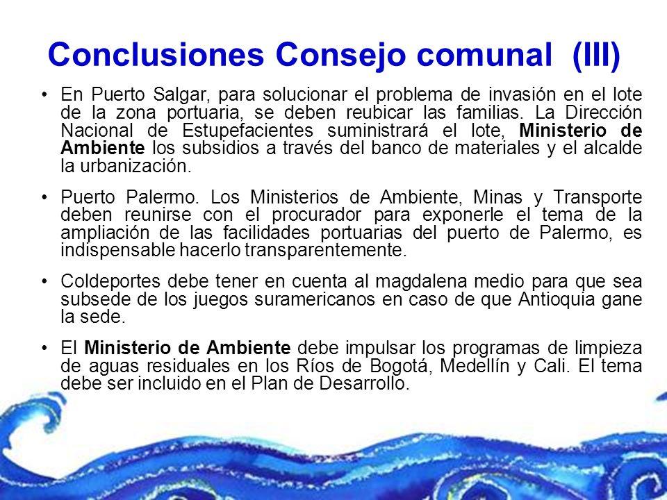 Conclusiones Consejo comunal (III)